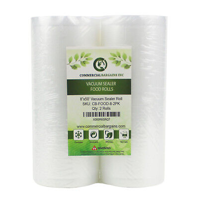 "2 Large Commercial Bargains 8"" x 50' Vacuum Food Sealer Saver Rolls Bags Freezer for sale  Milwaukee"