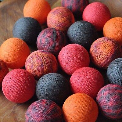 �lle Baumwolle Rot Braun Orange Mix Cotton ball lights LED (Orange Lichterkette)