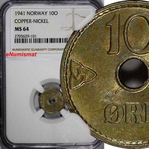 Norway Haakon VII Copper-Nickel 1941 10 Øre NGC MS64 WWII Issue KM# 383