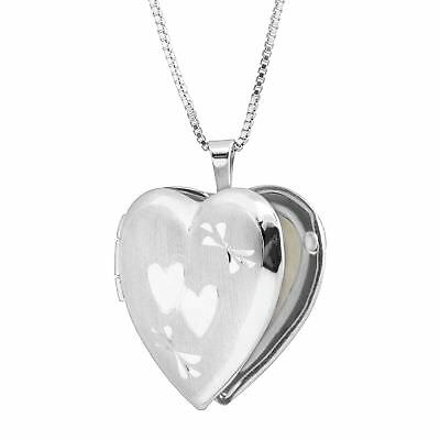 Classic Medium Double Etched Heart Locket Pendant in Sterling Silver