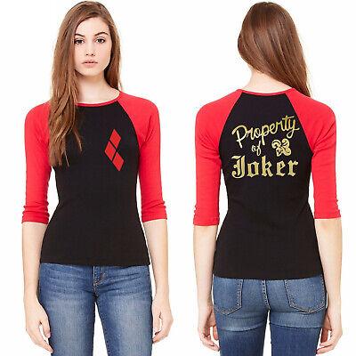 Women Harley Quinn Suicide Squad Joker Raglan 3/4 sleeve T-Shirt Cosplay Costume](Joker Costume Woman)