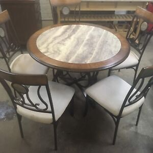 Marble inlay kitchen table and chairs