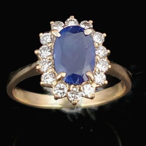 Estate Sapphire Diamond 18k Gold Ring Vintage Statement or Gem Engagement