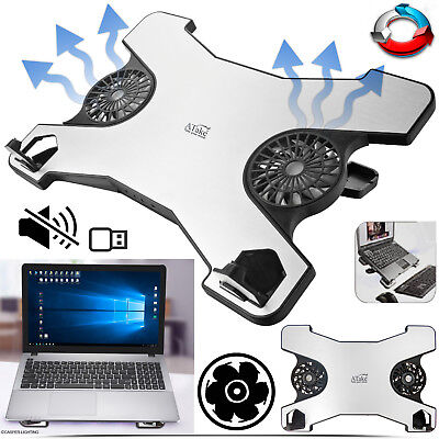 """USB 12""""-15"""" Inch Notebook Gaming Laptop Cooling Fan Pad Stand With 2 Fan & Hub"""