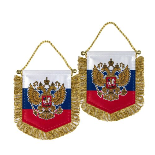 Russian mini Pennant Banner with Eagle coat of arms flag - 4.5 in x 3.5 in
