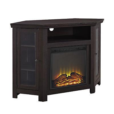 48 in. Corner Fireplace TV Stand in Espresso Finish