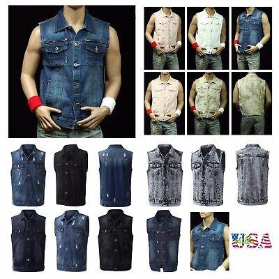 Men's Sleeveless Tank Vest Fashion Vest Denim Jacket Jean Jacket Casual Outdoor