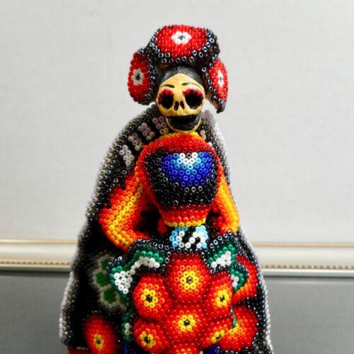 CATRINA BRIDE Huichol Beaded Figurine Mexican Day of the Dead Folk Art