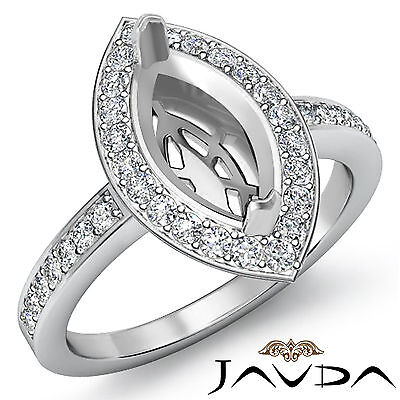 Diamond Engagement Halo Ring F-G Color 14k W Gold Marquise Shape Semi Mount 1Ct