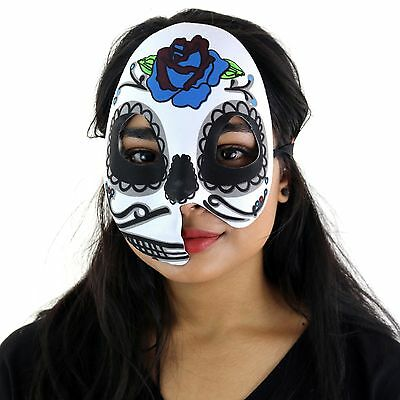Women's Day Of The Dead Halloween Sugar Skull Half Split Face Eye Mask -