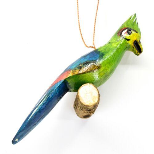 Hand Carved Painted Jacaranda Wood Green Tropical Bird Holiday Ornament Kenya