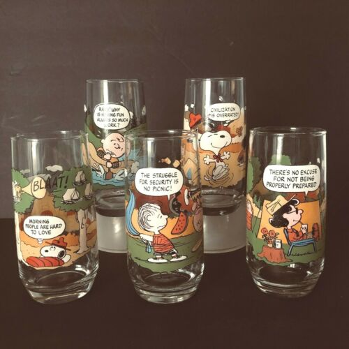 Vintage Set of 5 McDonald's Peanuts Camp Snoopy Charlie Brown Drinking Glass