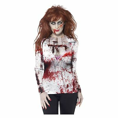 Top Female Halloween Costumes (New Ladies Sexy Zombie Nurse Female SFX Tshirt Halloween Top Fancy Dress)