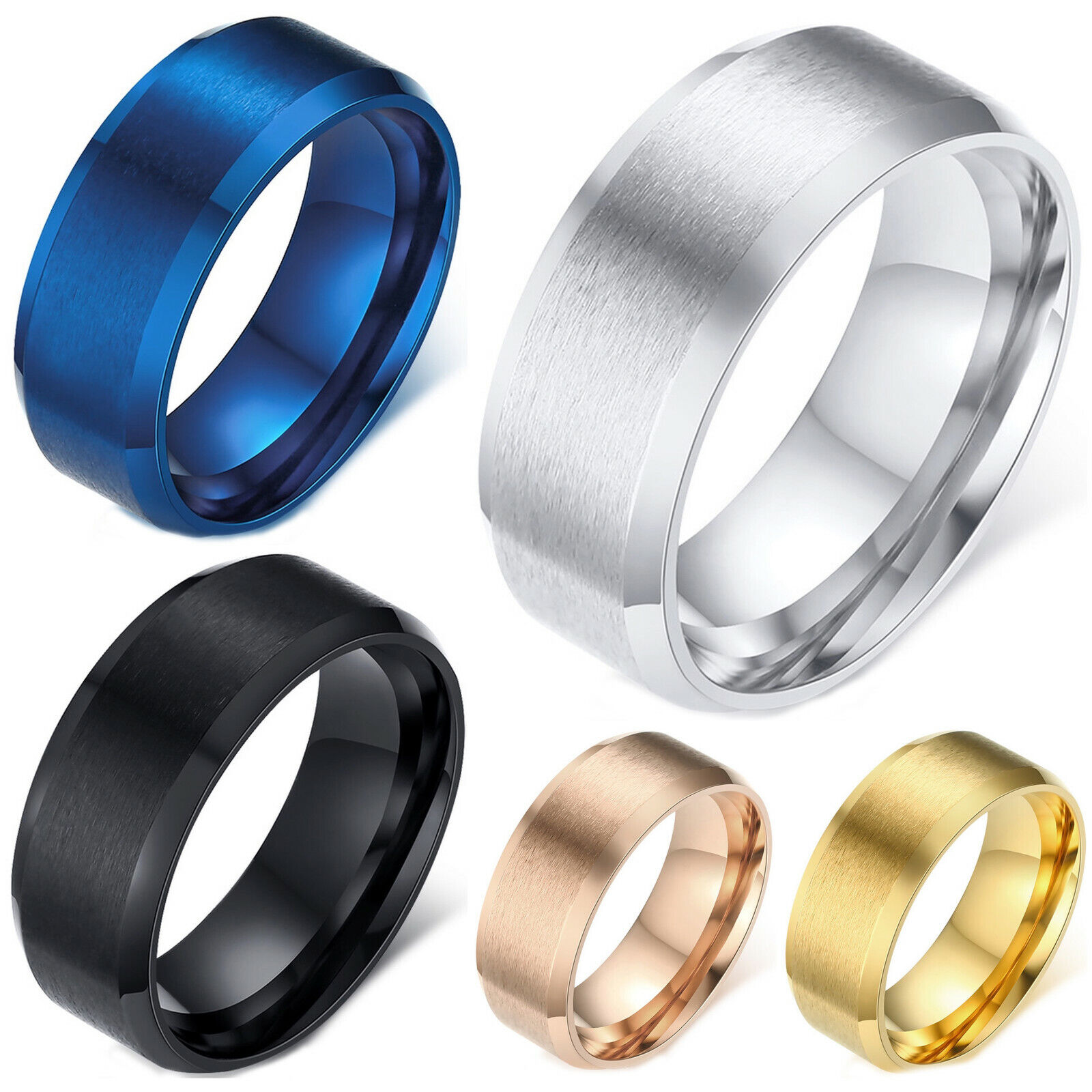 Men's Ring Stainless Steel Beveled Edge Matte Finished Comfort Fit Wedding Band Jewelry & Watches