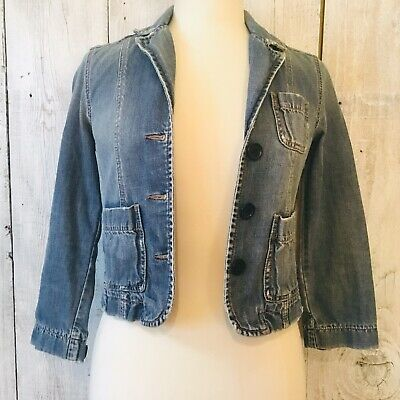 VTG ABERCROMBIE JEAN JACKET DENIM BLAZER FITTED CROPPED DISTRESSED POCKETS XS