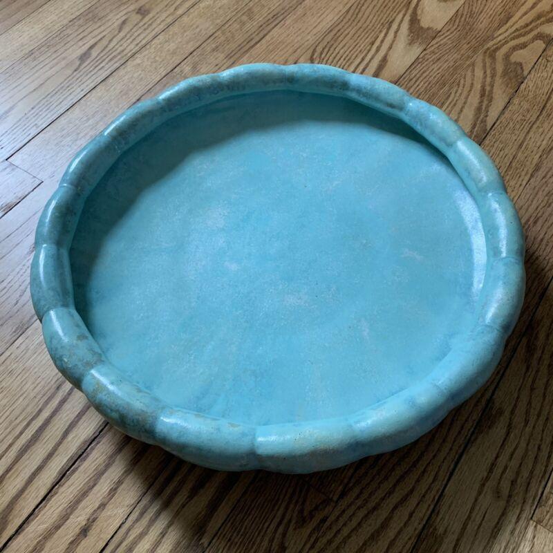 Large c.1920's Art Deco Fulper Pottery - Flambé Crystalline Bowl Dish Turquoise