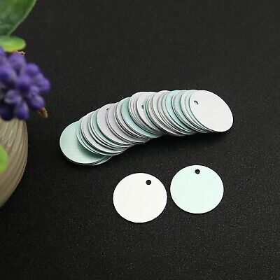 """50pcs 1"""" Metal Silver Blank Tags Set with 2.5mm Holes for Stamping Engraving"""