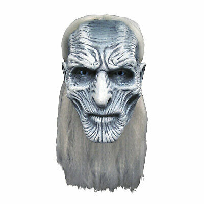 Adult Men's White Walker Game of Thrones Halloween Cosplay Costume Mask W/ Hair