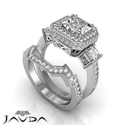 3 Stone Halo Princess Cut Diamond Engagement Pave Bridal Se Ring GIA H VS2 2.5Ct
