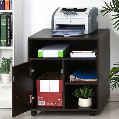 Homcom Printer Stand Multipurpose Moving Filing Cabinet W Storage Space