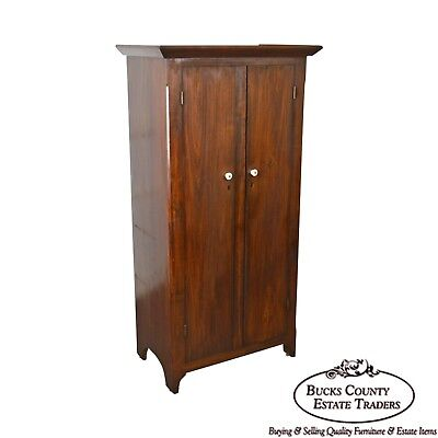 Antique 19th Century Berks County Poplar 2-Door Childs Wardrobe Cabinet