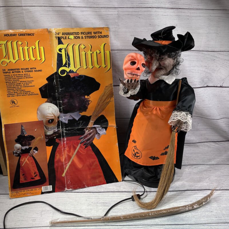 """Halloween 24"""" Animated Figure Triple Action Stereo Sound Witch Props Decor"""