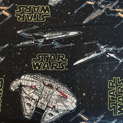 Star Wars Retro Black Millenium Falcon Cotton Fabric,110cm wide-Per 25cm SW15