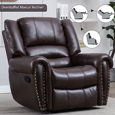 Leather Manual Recliner Chair Single Couch Padded Seat Lounge Sofa Living Room