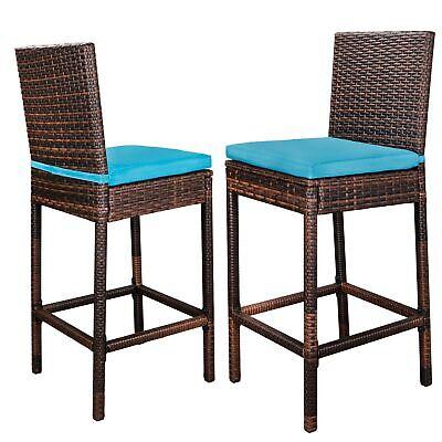 Modern Style Bar - Modern Style Wicker Bar stool Rattan Chairs PE Comfortable With 5cm Cushion