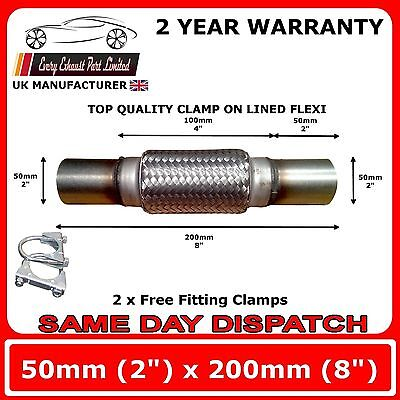 "Exhaust Clamp-on Flexi Tube Joint Flexible Pipe Repair 50 x 200mm 2"" x 8"" Flex"