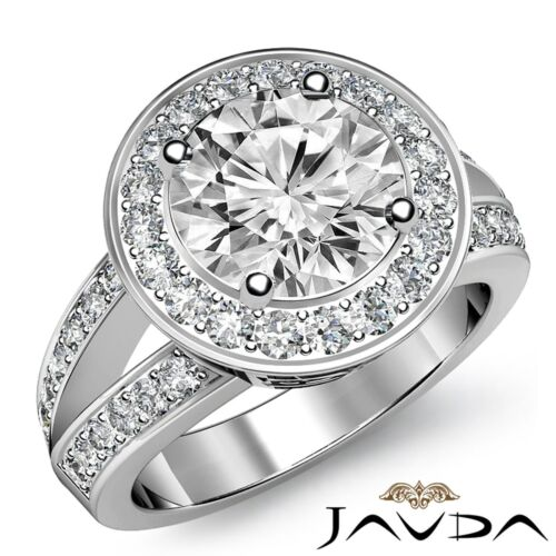 2.17ct Halo Pave Round Diamond Gorgeous Engagement Ring GIA F VS1 14k White Gold