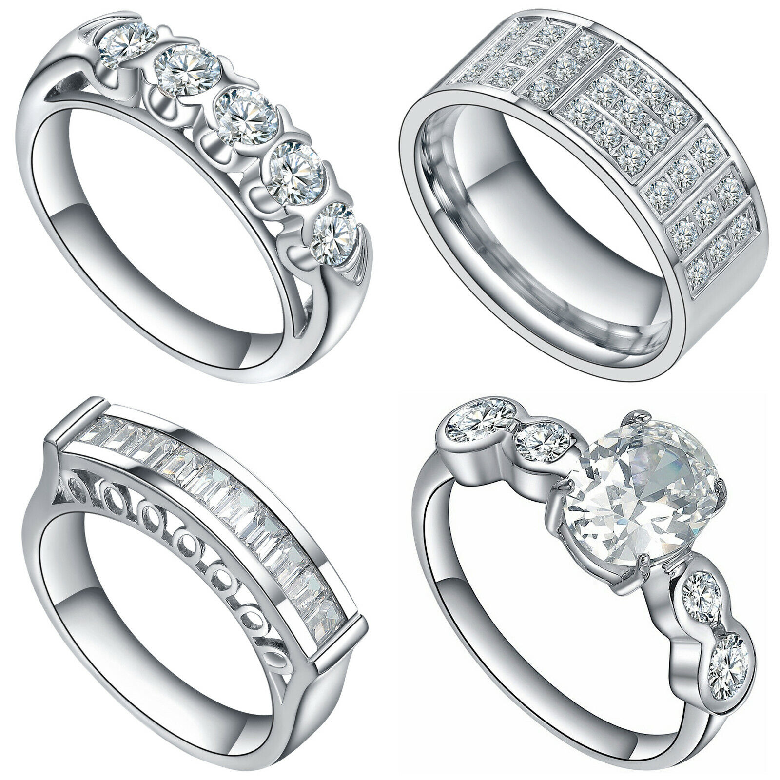 Women's Stainless Steel Cubic Zirconia Multi Stone Cocktail Engagement Ring Fashion Jewelry