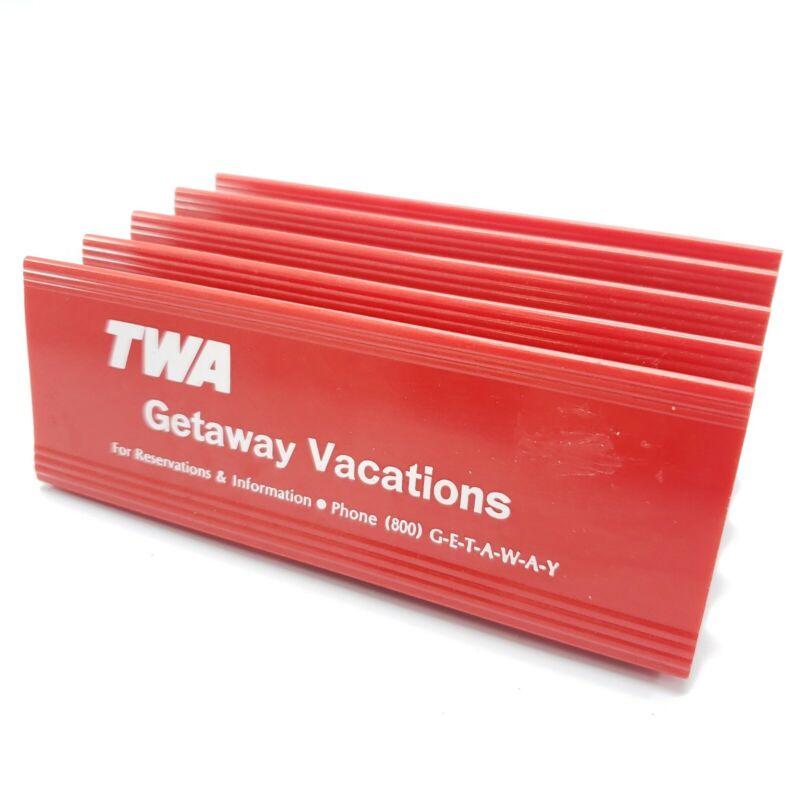 Vintage TWA Trans World Airlines Plastic Desktop Organizer Board Pass Ticket Etc