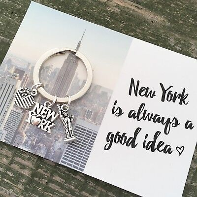 Love New York NYC charm keyring gift