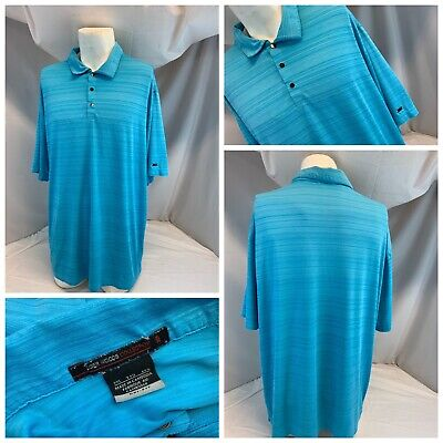 Nike Tiger Woods Golf Polo Shirt XXL Men Aqua Blue Poly No Flaws YGI C0-820