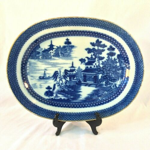 """ANTIQUE COBALT BLUE PEARLWARE CHINOISERIE OVAL PLATTER ENGLISH 16 5/8"""" X 12.75"""""""