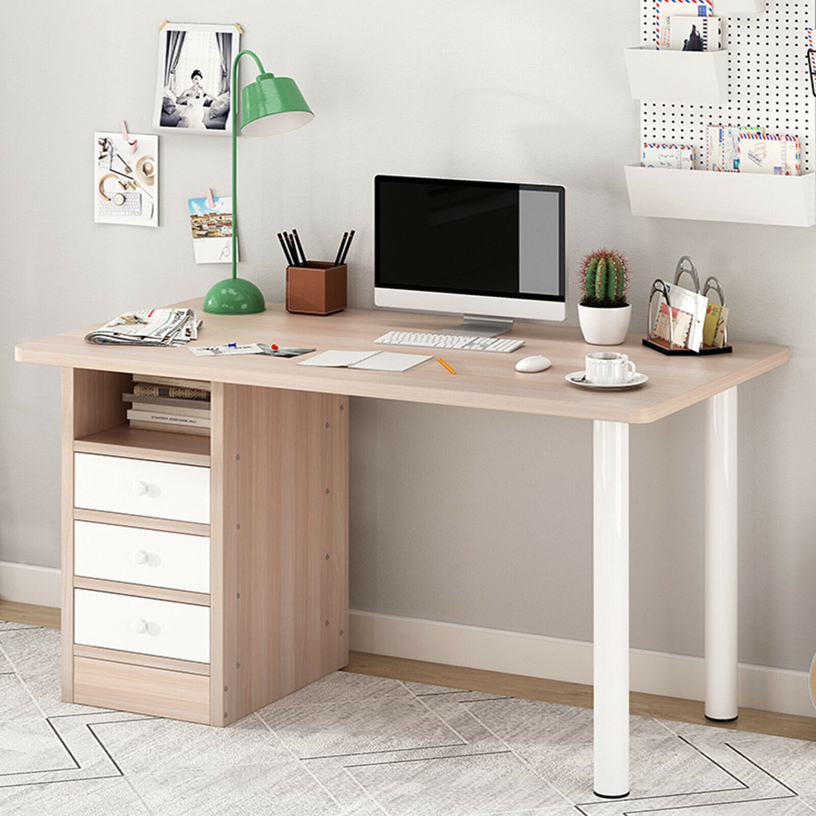 Computer Desk PC Laptop Study Table Workstation Home Office Furniture w/3 Drawer