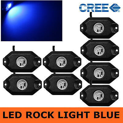 8pcs 3-CREE 9W Blue LED Rock Light Kit For Jeep SUV Off-Road Car Boat US Stock