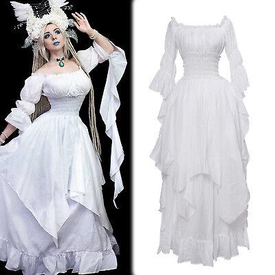 Damen Baumwolle Nachthemd Schulter unregelmäßigen Mittelalterliche Vintage Kleid