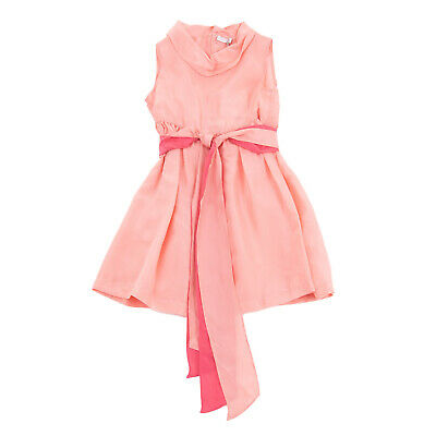RRP €175 IL GUFO Silk Satin A-Line Dress Size 4Y Tie Belt Sleeveless Cowl Neck
