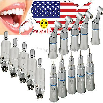 5 Dental Slow Low Speed Handpiece Kit Push Button 4hole E-type Air Motor Turbine