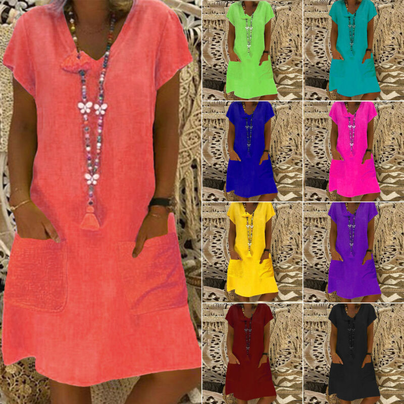 Womens Boho Summer Short Sleeve Long T-Shirt Casual Cotton L