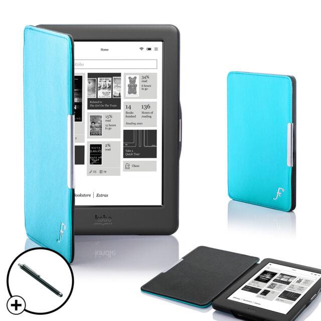 Leather Blue Smart Shell Case Cover for Kobo Glo HD eReader + Stylus