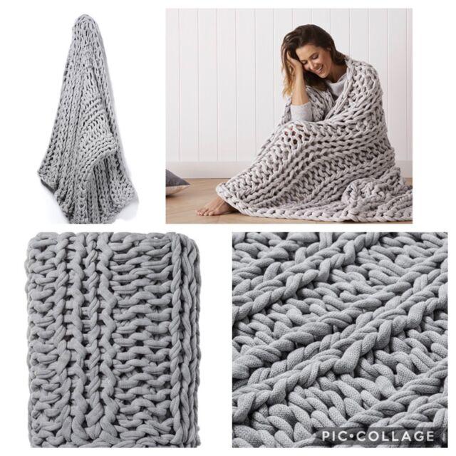 Adair39s Home Republic Chunky Knit Rib Throw Blanket Grey Bnwt
