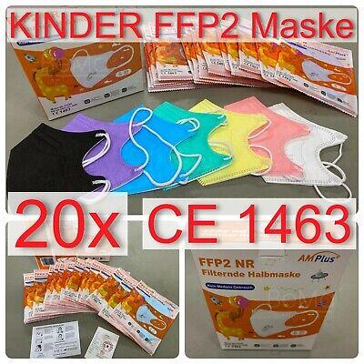FFP2 Maske, Kindergröße, dt. Verpackung, BUNT, CE1463, Atemschutzmaske, 20x