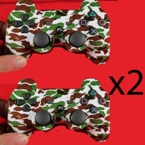 2PCS Wireless Bluetooth Video Game Controller Pad for PS3 Playstation 3 camo