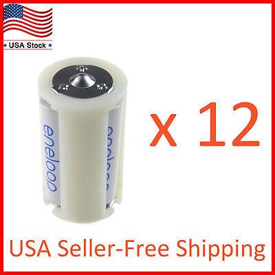 3 AA to Size D Battery Adapters Converter Cases Plastic Parallel White 12 Pack
