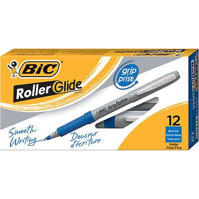 Bic Roller Glide Grip Fine Point Blue 12-pack