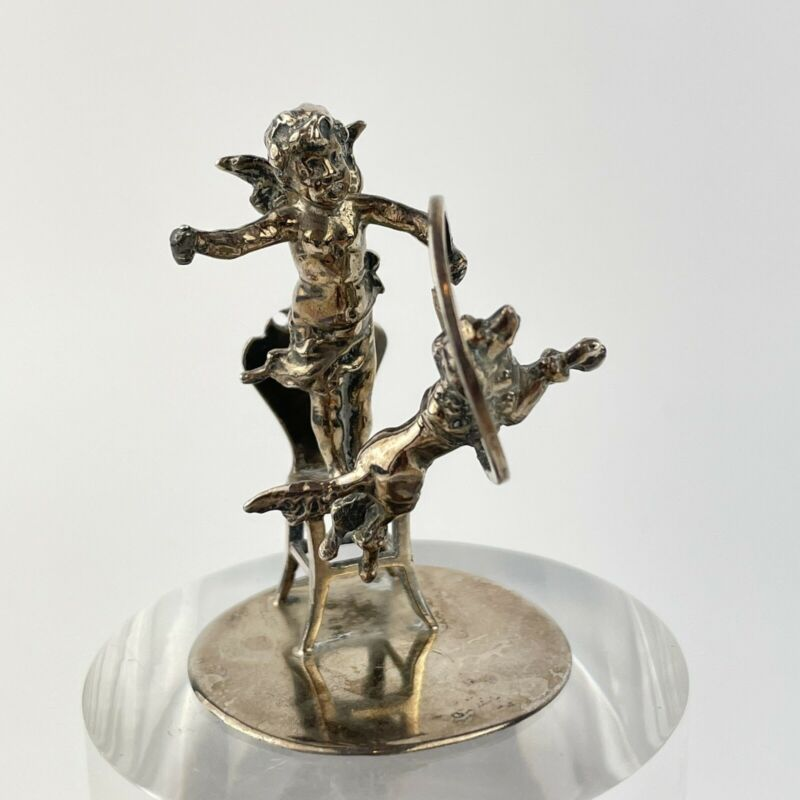 Antique Solid Silver Cherub On Chair Dog Jumping Through Hoop Berthold Muller