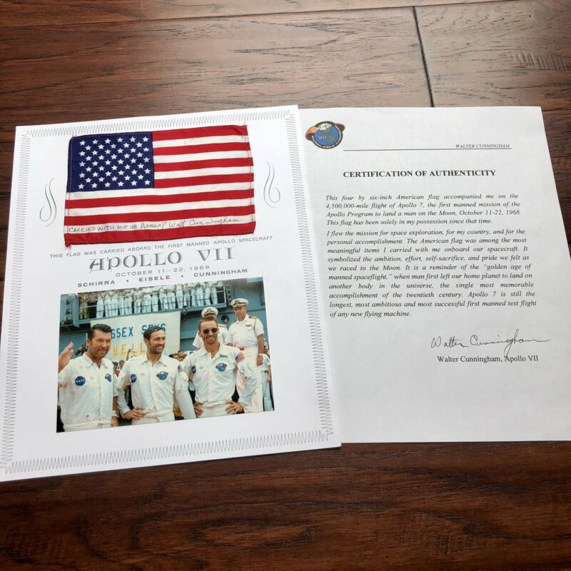 APOLLO 7 * Walt Cunningham Personal Collection Signed FLOWN US Flag * Autograph